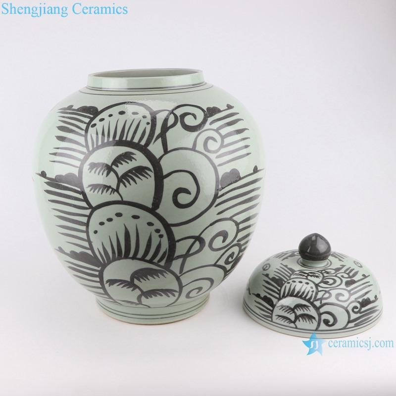 RZSX17 Antique Grisaille General Tank Coconut Tree Sea Grass Ceramic Storage Ginger Jars