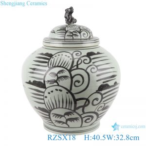 RZSX18 Antique Grisaille Porcelain Jars Black painting Coconut Tree Ceramic round ladded Storage Ginger jars