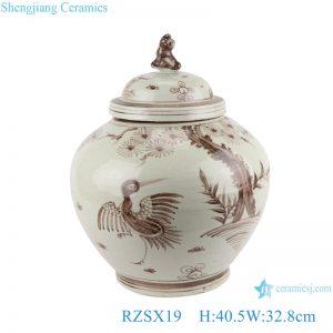 RZSX19 Brown hand painted Bird and Crane Ceramic storage Ginger Jars with dog head lid