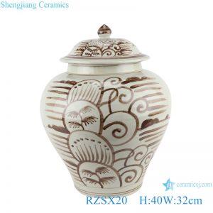 RZSX20 Antique Brown Coconut Tree Sea Grass Ceramic Storage Ginger Jars