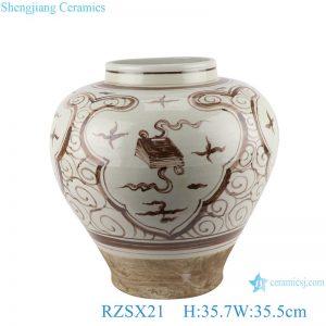 RZSX21 Brown open window Piano Chess book painting Design Porcelain flower pot Planters