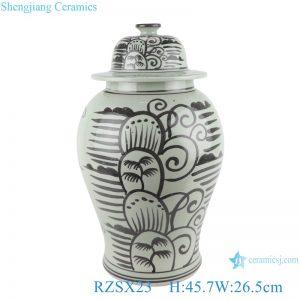 RZSX23 Antique Ink color Black painting Coconut Tree Sea Grass Ceramic Storage Ginger Jars