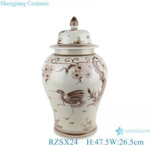 RZSX24 Antique Brown hand painted Bird and Crane Ceramic storage Ginger Ginger Jars