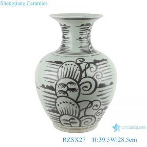 RZSX27 Antique Ink color black Hand painting Coconut Tree Sea Grass Ceramic Vase