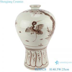 RZSX28 Jingdezhen Brown Color Antique crane and bird Hand painting Porcelain Plum Bottle Vase