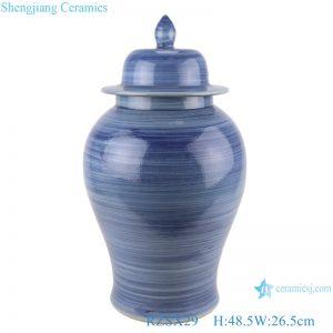 RZSX29 Modern Color Blue Glazed Striped line Ceramic Storage Ginger jars pot