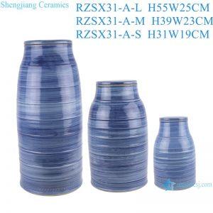 RZSX31 Modern Color Blue Glazed striped line Wax gourd pot Ceramic Vase