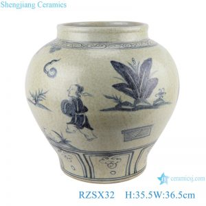 RZSX32 Hand painted character ceramic pot flower pottery Blue and White Porcelain jar