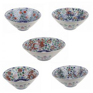 RZSZ05 Antique Phoenix Dragon Design open window winding leaf Colorful Porcelain Bowl