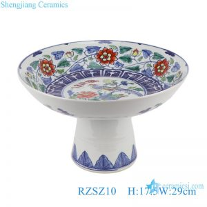 RZSZ10 Antique Colorful Twinning leaf Lotus Flower Bird design Ceramic Fruit Plate With Stand
