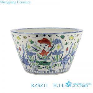 RZSZ11 Antique Water weeds Fish Flower Design Colorful Ceramic Large Bowl