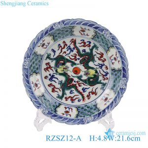 RZSZ12-A Antique Double Dragons play with pearls Colorful Ceramic Decorative Plate