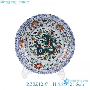 RZSZ12-C Jingdezhen Colorful Antique Twinning Leaf Dragon Design Ceramic Plate
