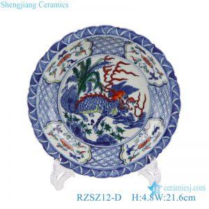 RZSZ12-D Antique Chinese unicorn Design Twinning Leaf Kylin Ceramic Blue and white Plate