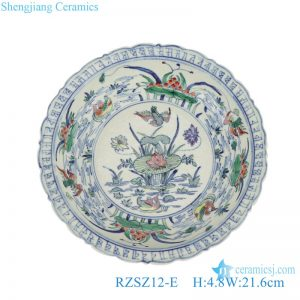 RZSZ12-E Antique Ducks Playing in the Water Colorful Lotus Flower Design Ceramic Decorative Plate