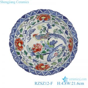 RZSZ12-F Antique Caragana Floral Bird Peony Flower Design Stripe Line Decorative Porcelain Plate