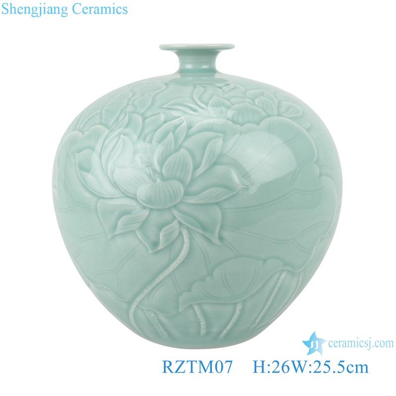 RZTM01 Sky cyan color Glazed Ceramic Vase Peony Flower Carving Fish Tail Pomegranate bottle