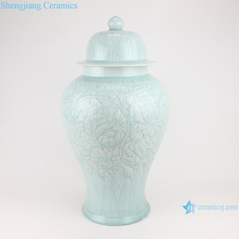 RZTM11 Modern Sky cyan Glazed color Flower Carved Porcelain Storage Ginger jars