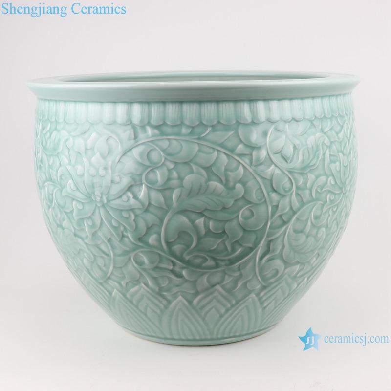 RZTM16 Sky cyan color Glazed Flower Carved Large ceramic water Tank Porcelain fishing pot
