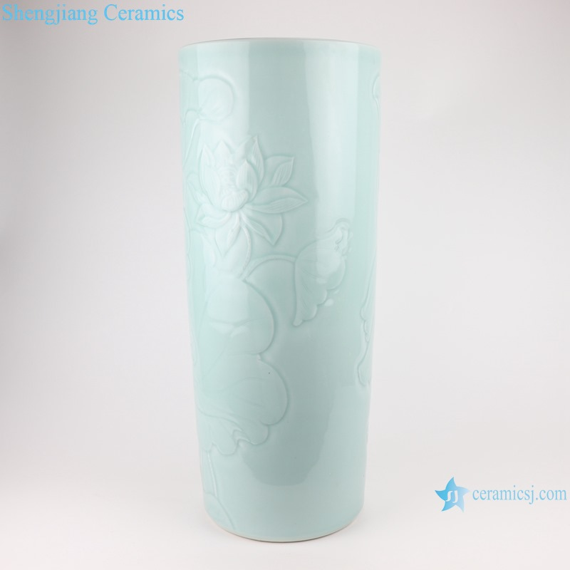 RZTM17 Sky cyan Lotus flower Carved ceramic umbrella stand