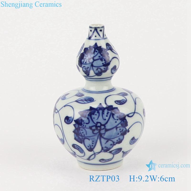 RZTP01 Antique Blue and White Porcelain Winding Flower Ceramic Small Vase